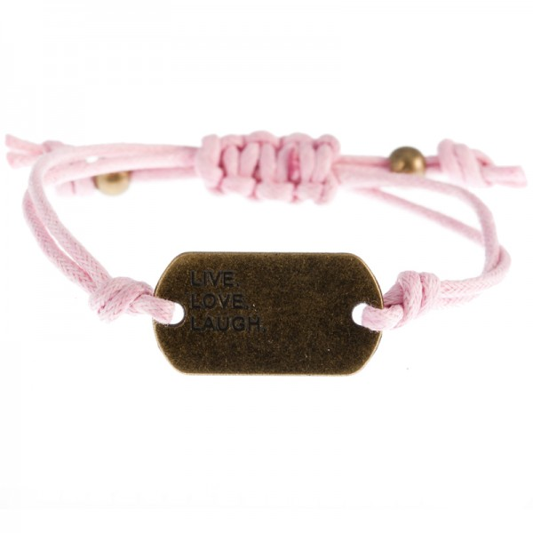 Armband Live Love Laugh, helles Pink