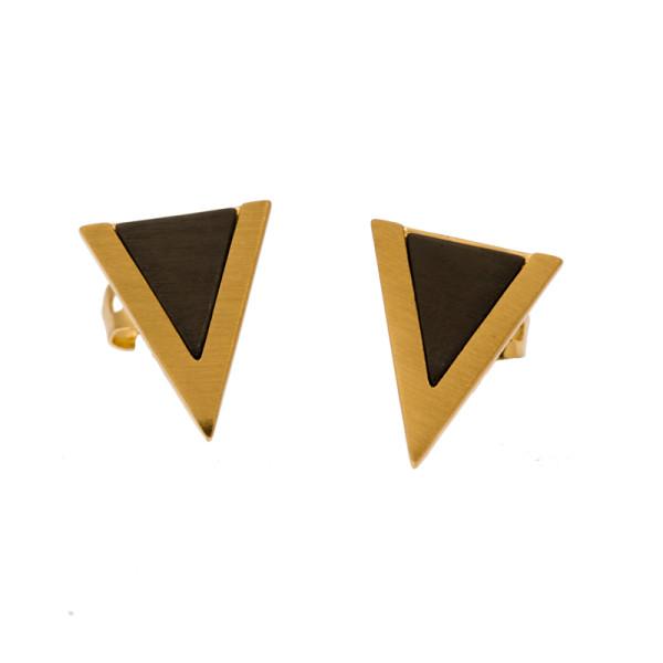 Ohrringe Zweifarbig Dreiecke, vergoldet