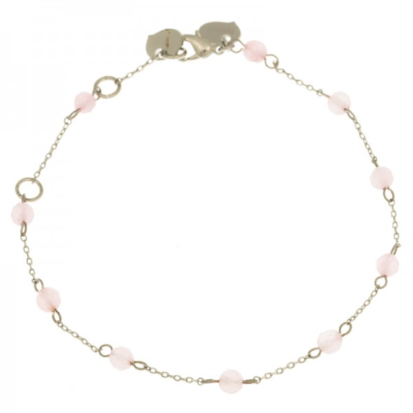 Armband Stein, Silver Rose Quarz