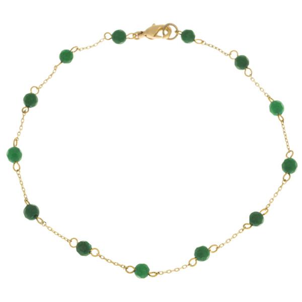 Fusskette Stein Agate, Gold Green