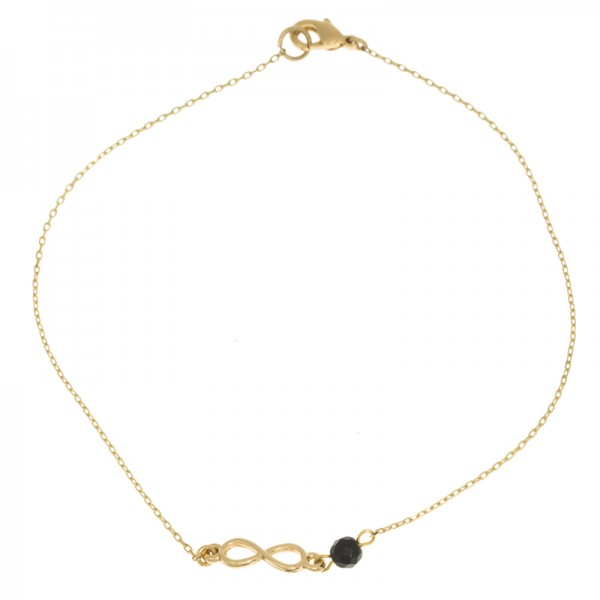 Fusskette Infinity Onyx, vergoldet