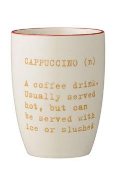 Cappuccinotasse Carla mit Text Orange