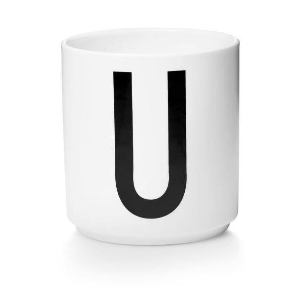 Porzellan Becher Weiß U von Design Letters
