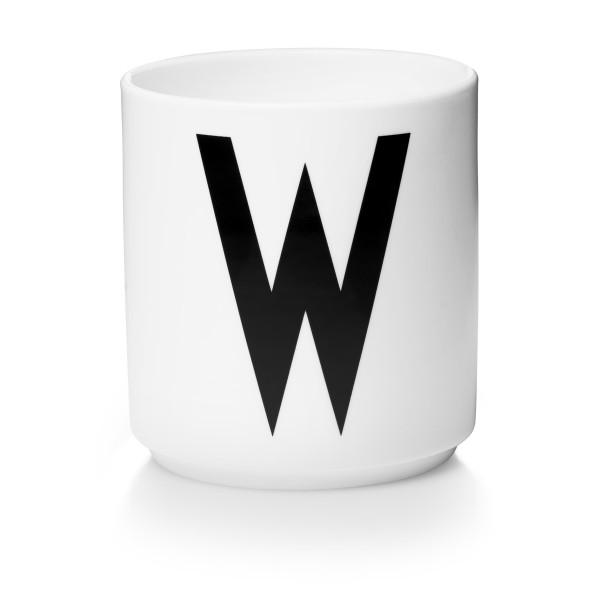 Porzellan Becher Weiß W von Design Letters