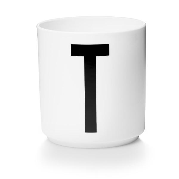 Design Letters Porzellan Becher Weiß Buchstabe T