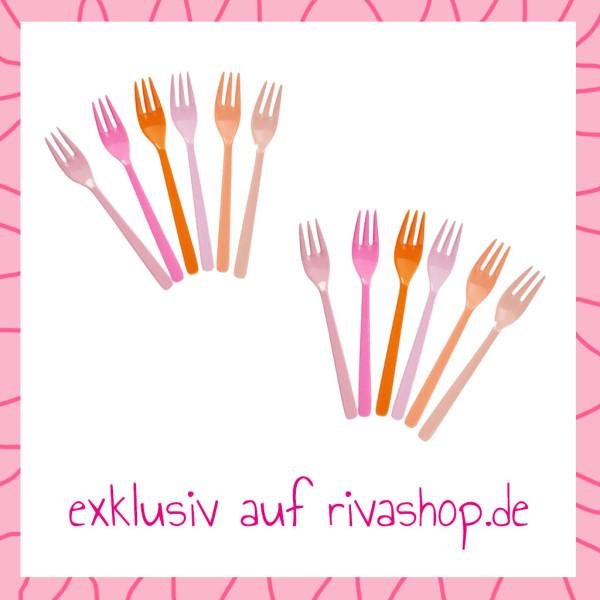 Nur hier: Nimm 2 Melamin Kuchengabel 6er Sets Pink and Orange für 1 von Rice