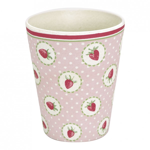 Bambus Becher Strawberry Pale Pink von GreenGate