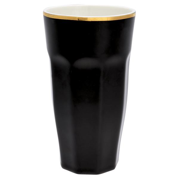 Großer Latte Cup Black mit Goldrand