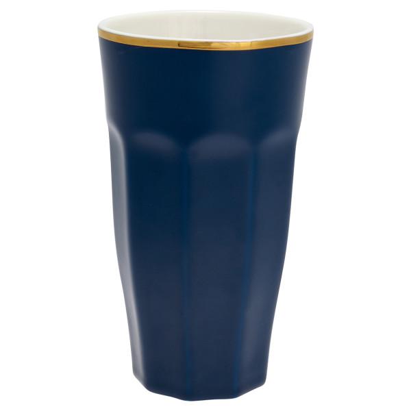 Großer Latte Cup Dark Blue mit Goldrand