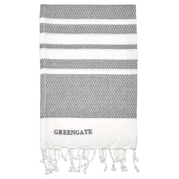 Geschirrhandtuch Stripe Grey mit Fransen