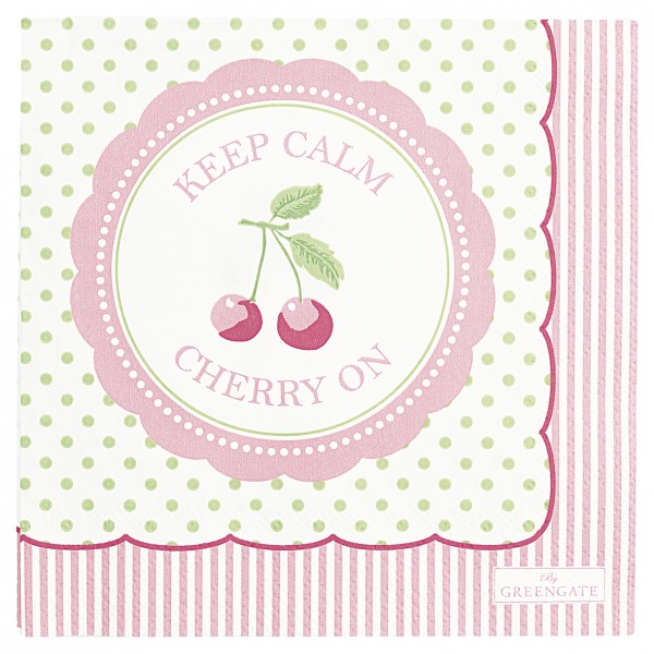 Kleine Papierserviette Cherry Berry Pale Green