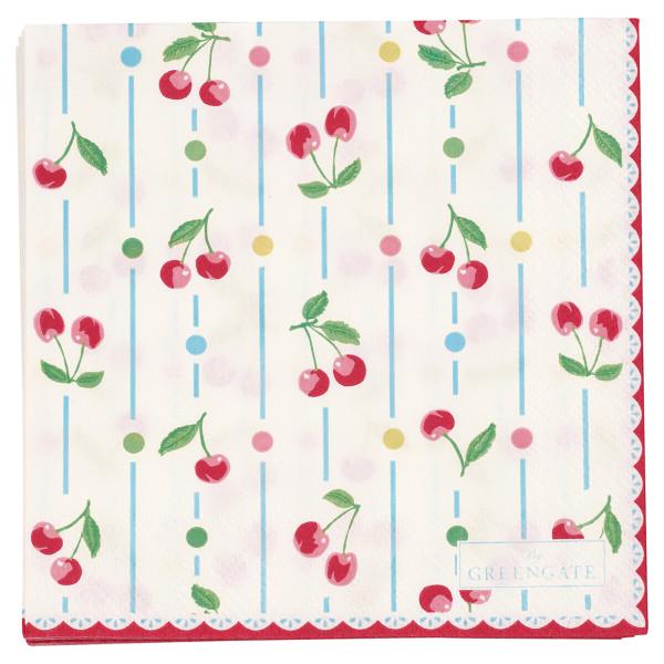 Kleine Papierservietten Cherry White