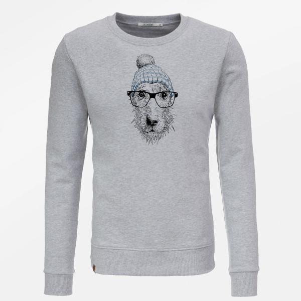 Sweatshirt Herren Wild Animal Dog Glasses Grey S von Greenbomb