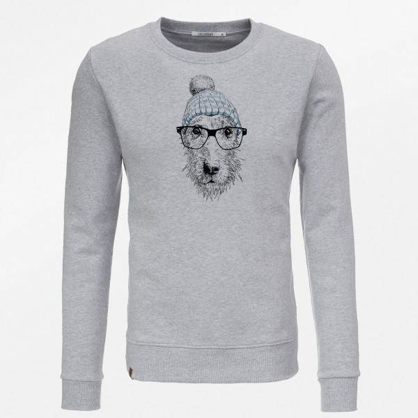 Sweatshirt Herren Wild Animal Dog Glasses Grey M von Greenbomb