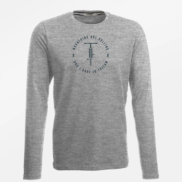 Longsleeve Herren Jazzy Bike Mountains Call Heather Grey L von Greenbomb