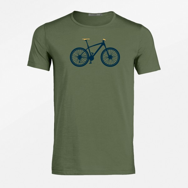 T-Shirt Herren Adores Slub Bike Mountain Steel Green L von Greenbomb