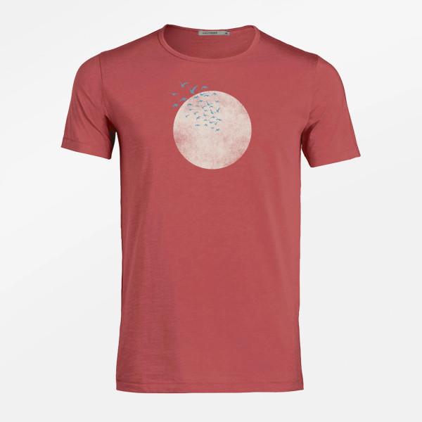 T-Shirt Herren Guide Nature Birds Moon Sun Red M von Greenbomb