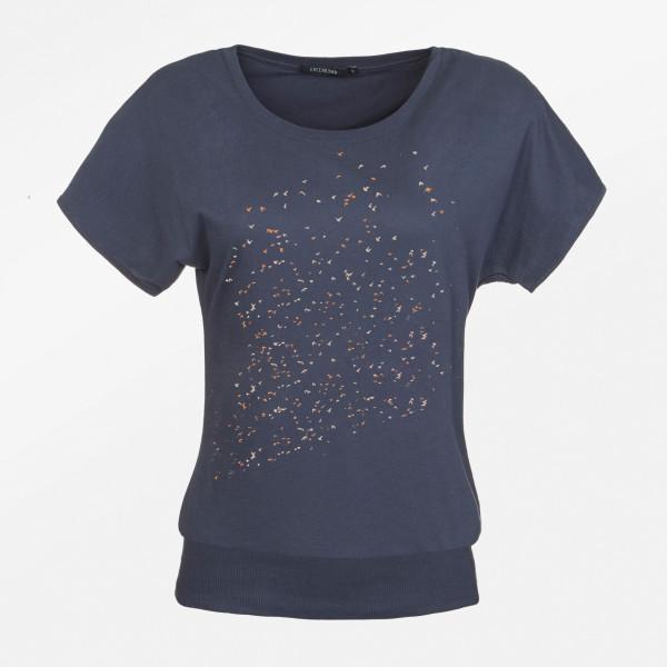 T-Shirt Brave Abstract Swarm Birds Sea Grey M von Greenbomb