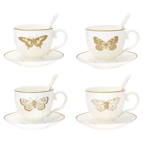 tasse mit untertasse und l ffel butterfly gold 4er set porzellan geschirr geschirr essen. Black Bedroom Furniture Sets. Home Design Ideas