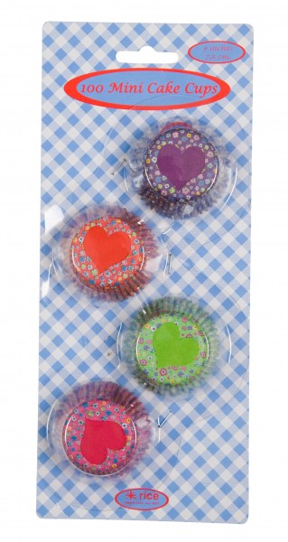 100 Mini Cake Cups in 4 Assorted Mini Flower Print