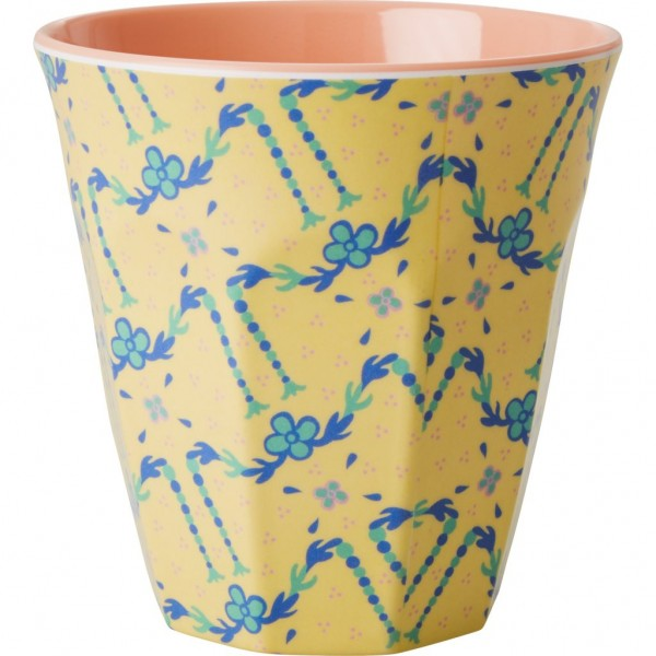 Melamine Cup Two Tone with Cream Flower Garland Print