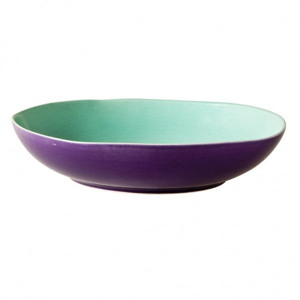 Ceramic Two Tone Soup Plate in Jade and Purple