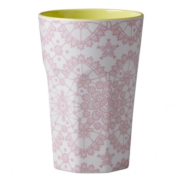 Melamine Two Tone Tall Cup with Pink Lace Print