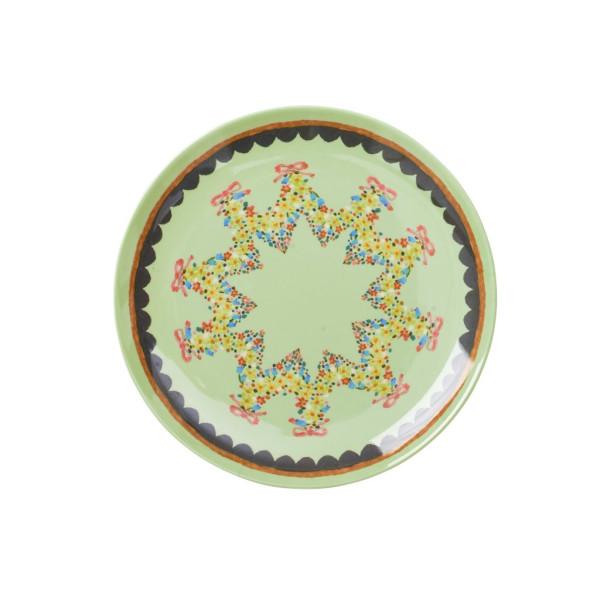 Melamin Dessertteller mit Mint Flower Print