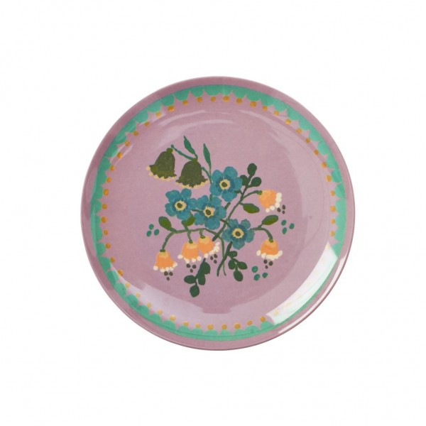 Melamin Dessertteller mit Dusty Lavender Flower Print