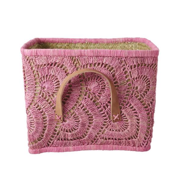 Korb geflochten Pink von Rice