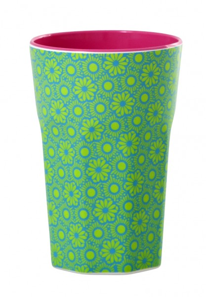Melamine Cup Two Tone Latte Cup with Green and Turquoise Marrakesh Design