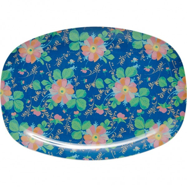 Rectangular Melamine Plate with Bold Flower Print