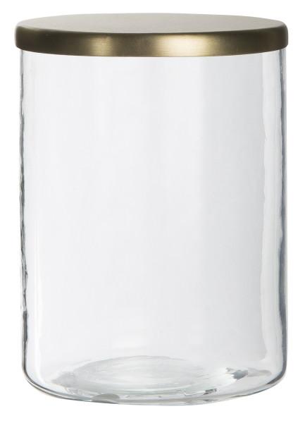 Glas mit goldenem Deckel