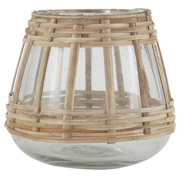 Teelichthalter konisch Bambusgeflecht