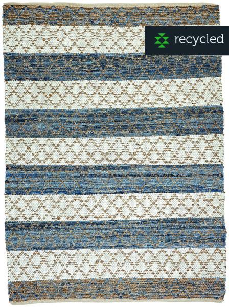 Teppich HACIENDA Natur/Blau/Weiß aus recycelten Jeans von LIV Interior