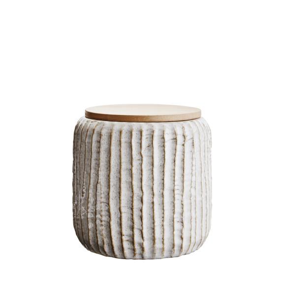 Aufbewahrungsdose mit Holzdeckel Weiß, ø 11,5 cm