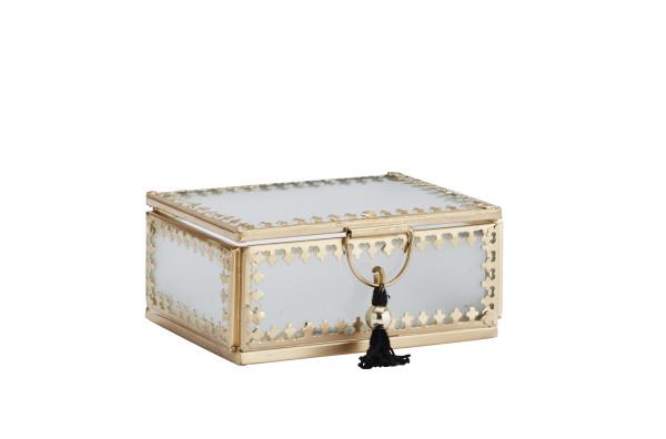 Glasbox m. Quaste, aus gefrostetem Glas, Gold S