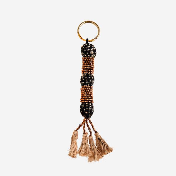 Schlüsselanhänger perlenbesetzt mit Quasten, Kupfer von Madam Stoltz