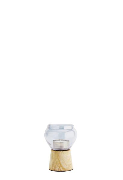Teelichthalter, blaues Glas, Holz S