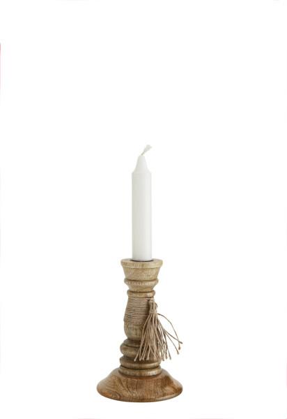 Kerzenständer mit Quaste, Natur, Holz