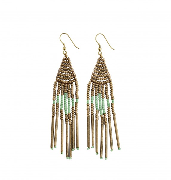 Ohrringe aus Perlen Gold, Grün von Madam Stoltz