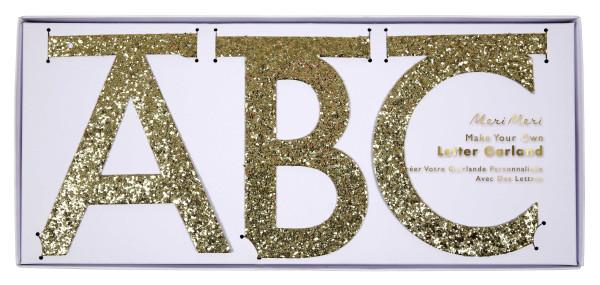 Girlande Glitzer Buchstaben Gold