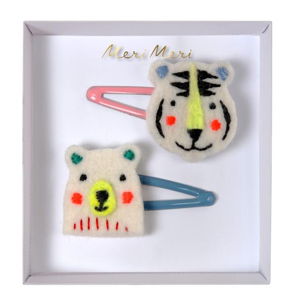 Haarklammer Bär und Tiger bestickt von Meri Meri