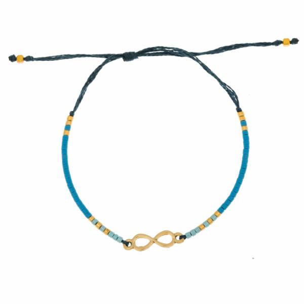 Armband Unendlichkeit, Glasperlen, Gold Blau