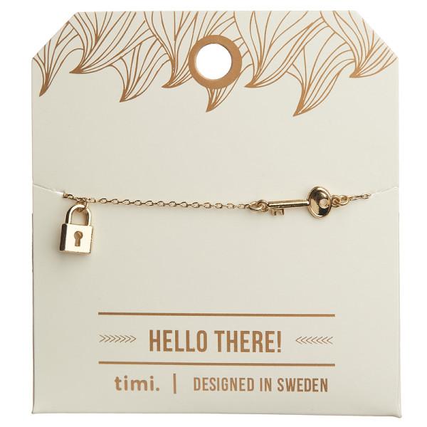 Armband Schloss und Schlüssel, vergoldet