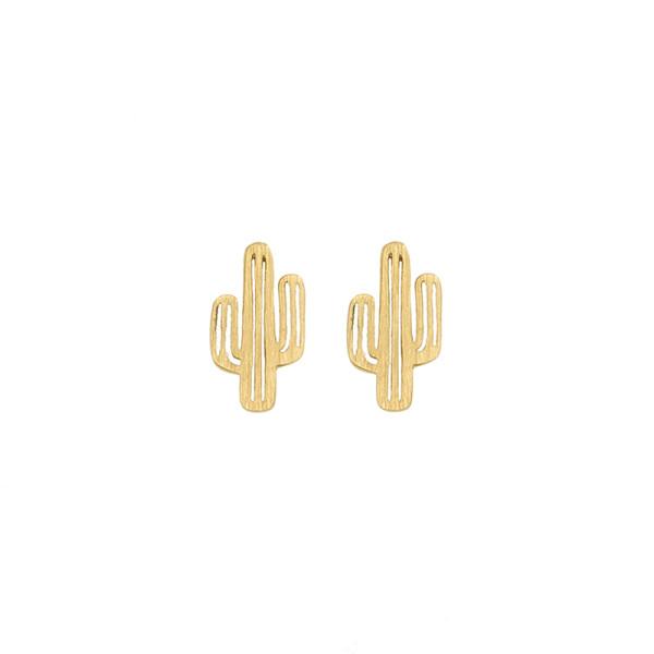 Ohrringe Kaktus, vergoldet
