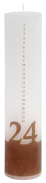Kalender Kerze 1-24 Weiß, Holzlook