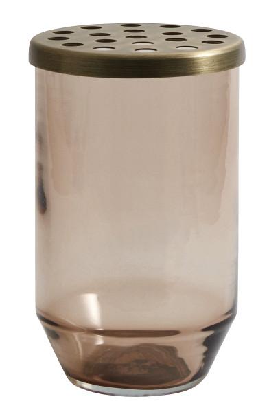 Vase Glas m. Metall Deckel, Dusty Brown S