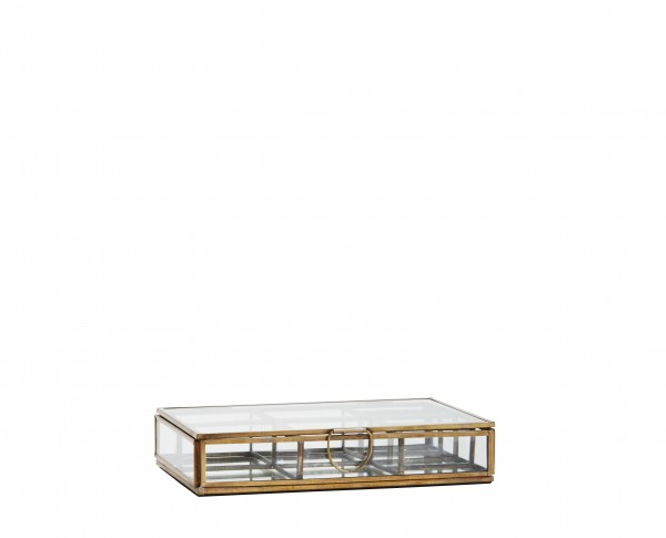 Schmuckbox mit Unterteilung und Spiegelboden Antik Messing