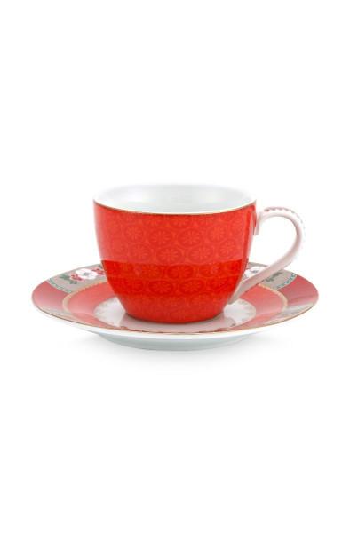 Espressotasse mit Untertasse Blushing Birds Red von PIP Studio